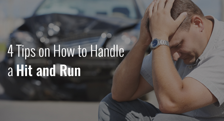 blog image: upset man with a wrecked car in the background; blog title: 4 tips on how to handle a hit and run